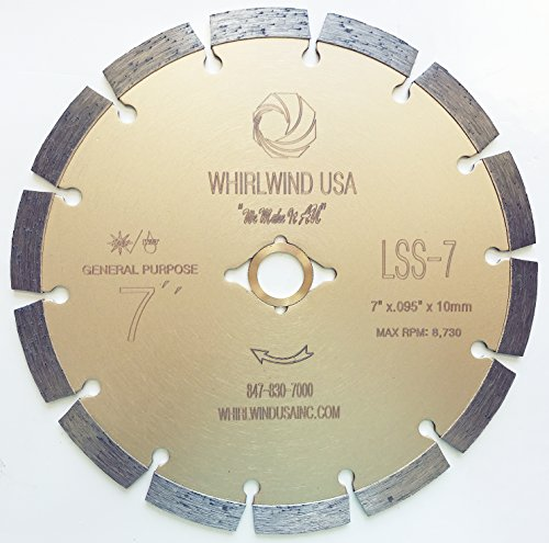 Whirlwind USA LSS 7-Inch Dry or Wet Cutting General Purpose Power Saw Segmented Diamond Blades for Concrete Stone Brick Masonry (7')