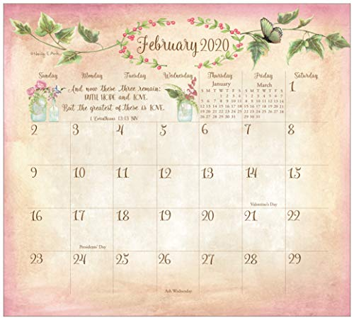 Legacy Publishing Group 2020 Magnetic Calendar Pad with Scripture, 9.37 x 8.37-Inches, Faithful Heart and Home