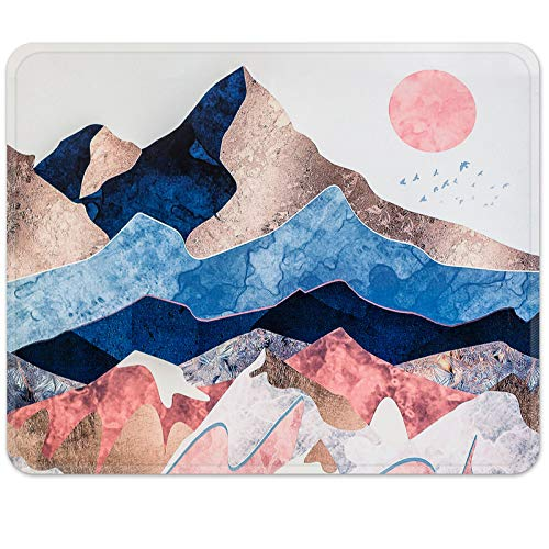 Britimes Gaming Mouse Pad, Abstract Mountain Scenery Square Mousepads Portable Non-Slip Rubber Base Office Decor Wireless Mouse Pad for Gaming, Working, Studying