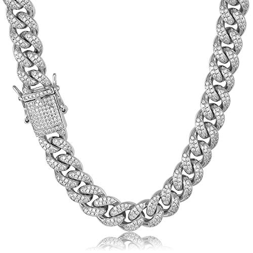 TRIPOD JEWELRY Hip Hop 12mm White Gold/18K Gold Plated Iced Out Miami Cuban Link Chain Bracelet Simulated Diamond Iced Out CZ Cuban link Choker for Mens Cuban Chain Necklace (White Gold - 10mm, 20.00)