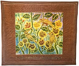 Shabbat Challah Cover. Handmade and Handpainted Batic Rust color with Songbirds Challah Cover. Shabbat Shalom In English. Made in Bali. 16x19 inches. Great Gift for: Shabbat Passover Seder Night Yom Kippur Housewarming Rosh Hashanah Chanukah Mother`s day