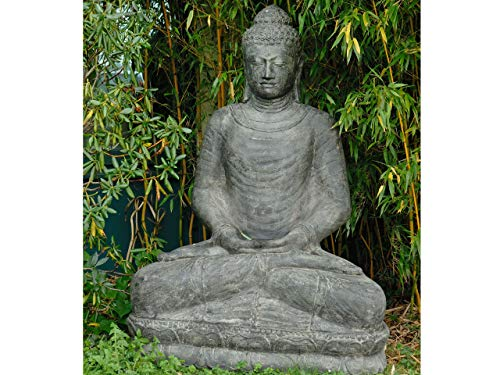 XXL Buddha Figur Groß Für Garten Lavastein Grosser Steinbuddha Sitzend Skulptur Steinfigur Gross Frostfest