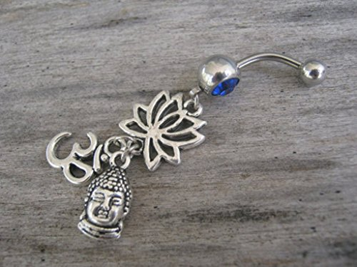 PERSONALIZED Lotus Flower Om Buddha Belly Button Ring, Antiqued Silver Body Piercing Jewelry with Optional Swarovski Birthstone