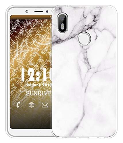 Sunrive Für BQ Aquaris C Hülle Silikon, Transparent Handyhülle Schutzhülle Etui Hülle für BQ Aquaris C(TPU Marmor Weißer)+Gratis Universal Eingabestift