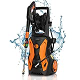 Electric Pressure Washer Power Washer, Max. 3500PSI 2.4GPM 2000W High Power Washer Jet Washer with Foam Cannon Hose Reel Spray Gun and 5 Nozzle Adapter, for Cleaning Cars/ Fences/ Patio