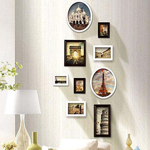 Cadre décoratif Combinaison verticale de mur de photo,, combinaison créative de cadre de photo de mur 9 PCs / ensembles de cadre de photo de collage Set, cadres d'image de cru, famille d'image cadres de cadre de photo de BRICOLAGE ( Couleur : B , taille : 9frames/151*70.5CM )