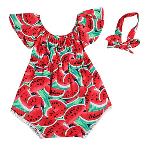 Cute Baby Girls Summer Clothes Watermelon Patterns Romper Sleeveless Jumpsuit Outfit (0-6 Months, E)