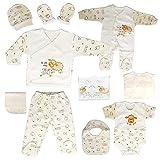 Set de regalo para recién nacidos, 100 % algodón natural, equipamiento básico unisex, ropa de regalo, equipamiento para bebés de 0 a 4 meses (crudo)