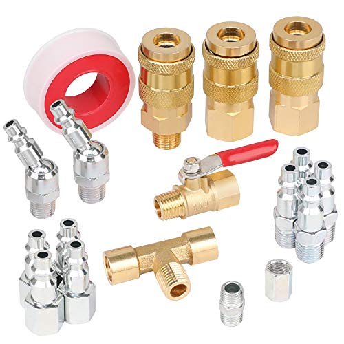Hromee 18 Pieces Air Coupler and Plug Kit, 1/4-Inch NPT Air Hose Fittings and Compressor Accessories with Universal Quick Coupler, Brass Ball Valve, Swivel Air Plug and Tee Pipe Fitting