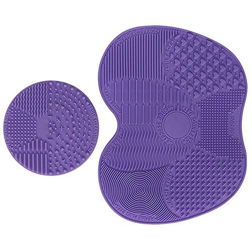 Makeup Brush Cleaning Mat Set-ESARORA Makeup Brush Cleaner Pad Set of 2 Cosmetic Brush Cleaning Mat Portable Washing Tool Scrubber Suction Cup (purple)