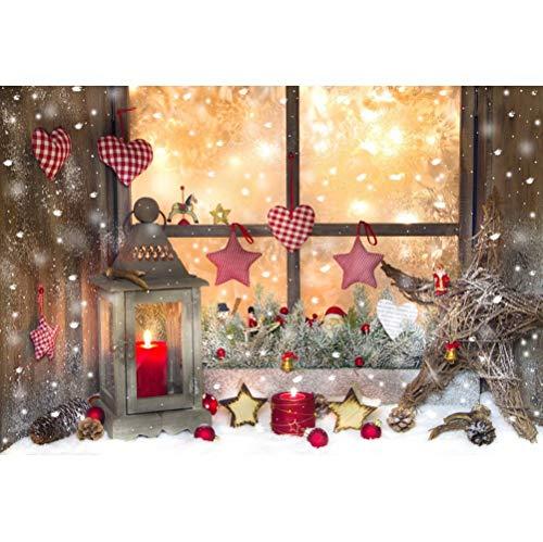 Leowefowa 3x2m Vinilo Navidad Telon de Fondo Navidad como telón de Fondo Decoración del Patio de Navidad Escena de Nieve Fondos para Fotografia Navidad Fiesta Photo Studio Props Photo Booth