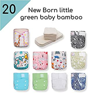 Kawaii Baby 20 Pack Newborn Little Green Baby Bamboo Diaper with 40 Bamboo Inserts, 6-22 lbs - 0-18 Months