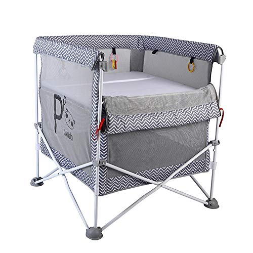 ZHFC Baby folding game bed, multi-function baby care fence with guard net, cradle baby nest game bed bottom storage convenient mobile bed with wheels