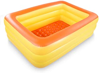 """HIWENA Inflatable Family Swim Center Pool, 83"""" Gaint Swimming Pool Summer Water Fun with Inflatable Soft Floor (83"""" Orange)"""