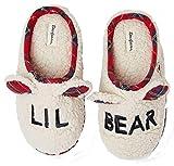 Dearfoams Lil Bear Memory Foam Boys Girls Plaid Clog Slippers (11/12)