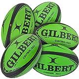 Gilbert Lot de 5 Ballons de Rugby Pass Catch Skill System (Taille 5)