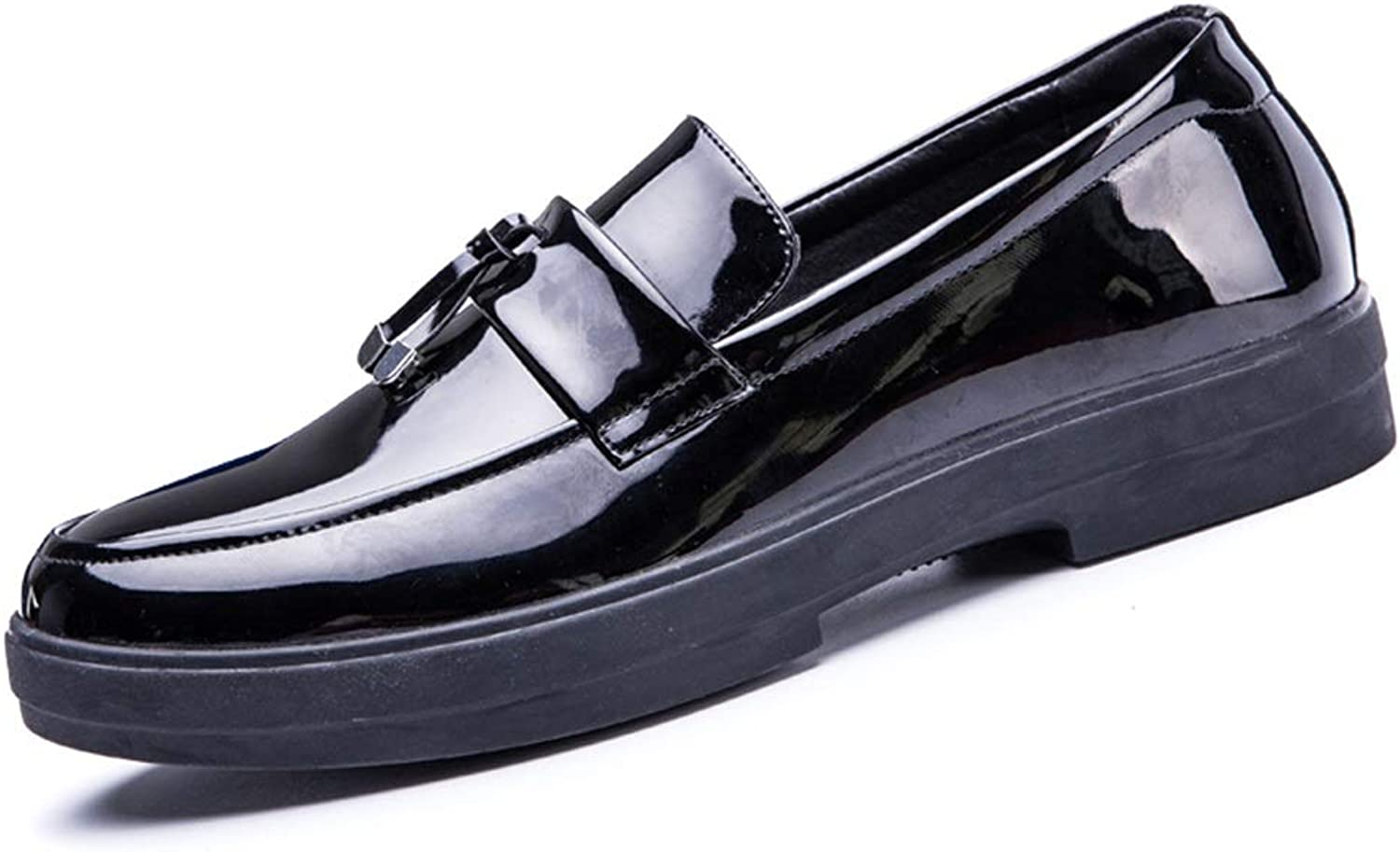 Mens Business Patent Oxfords Slip On shoes Microfiber Leather Leisure Classic Casual Loafers Tassel Flat Anti-Slip Round Toe Cricket shoes