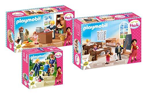 PLAYMOBIL Heidi 3-teiliges Set: 70256 Schulunterricht & 70257 Dorfladen & 70258 Clara mit Vater und Fräulein Rottenmeier