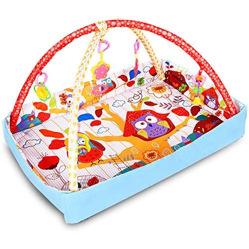 GOPLUS Spieldecke Baby Krabbeldecke Spielbogen Babyspielmatte mit Laufgitter 82x58x52cm