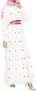 zhbotaolang Muslim Lady Embroidered Evening Dress - Woman Long Sleeve Robe Gowns