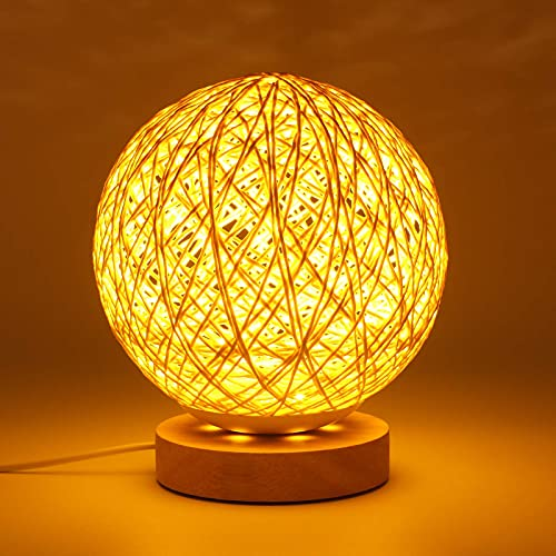 Lámpara de mesa de madera con pantalla tejida a mano, lámpara de noche con cargador USB para dormitorio, sala de estar, mesita de noche, mesita auxiliar, sala de café, habitación de bebé