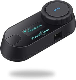 FreedConn Bluetooth Helmet Communication Intercom Systems for Motorcycle, LCD Screen T-COMSC 800M Two-Way Handsfree Bluetooth Interphone Intercom Headset with FM Radio Waterproof (1 Pack)