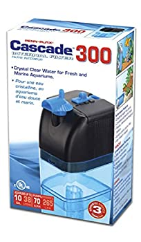 Penn-Plax Cascade 300 Submersible Aquarium Filter Cleans Up to 10 Gallon Fish Tank with Physical Chemical and Biological Filtration Blue & Black  CIF1