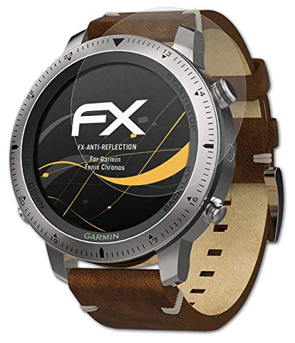 atFoliX Panzerfolie kompatibel mit Garmin Fenix Chronos Schutzfolie, entspiegelnde & stoßdämpfende FX Folie (3X)