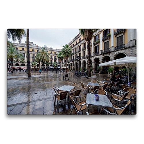 CALVENDO Lienzo de 75 cm x 50 cm Horizontal, el Reial de Plaça Cerca de Rambla. Lámina de Pared, Imagen sobre Bastidor, Imagen Lista sobre Lienzo auténtico, impresión en Lienzo Orte Orte