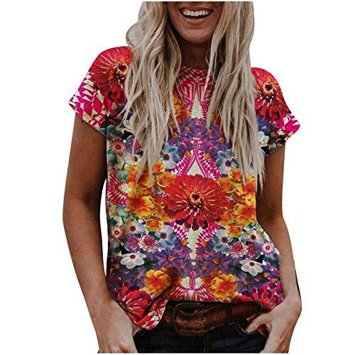 Damen T-Shirt Frühling Sommer Scenic Blumen Motiv Tops Bunte 3D gedruckt Pullover Casual Kurzarm V-Ausschnitt Tunika Street Trend Bluse mit V-Ausschnitt (L,Rot)
