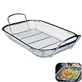 H&W Grill Basket, Vegetable Barbecue Basket,BBQ Basket for Grill, Outdoor Cookware Charcoal Barbecue Mate