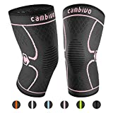 CAMBIVO 2 Pack Knee Brace, Knee Compression Sleeve Support for Running, Arthritis, ACL, Meniscus Tear, Sports, Joint Pain Relief and Injury Recovery (XXL, Pink)