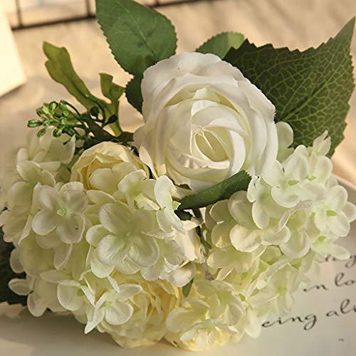 Hunpta@ Künstliche Blumen Hortensie Rose Strauß Weiß Roségold Kunstblumen Blumenarrangement für Haus Büro Balkon Garten Hochzeit Party Valentinstag Dekoration