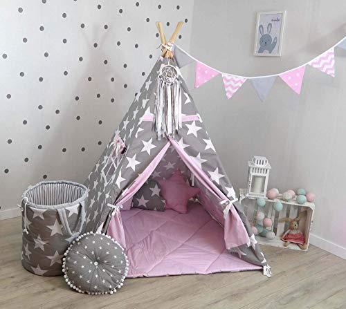 TS Tipi Teepee - Juego de 4 accesorios de tienda de campaña para niños, tienda india, cojín y manta, 14 colores (gris y rosa)