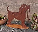 terracotta-toepfe-de Hund ca. 30 cm breit aus Metall Edelrost Rost Deko Dackel Jack Russel Pudel Tier Garten