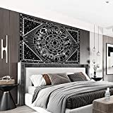 Tapiz Mandala Playa Grande Mandala Blanco Y Negro Decorativo Para Colgar En La Pared Con Diseño De Mandala Hindú Para La Playa Como Sábana Mantel De Mesa Toalla De Playa Poliéster150x150cm(59x59inch)
