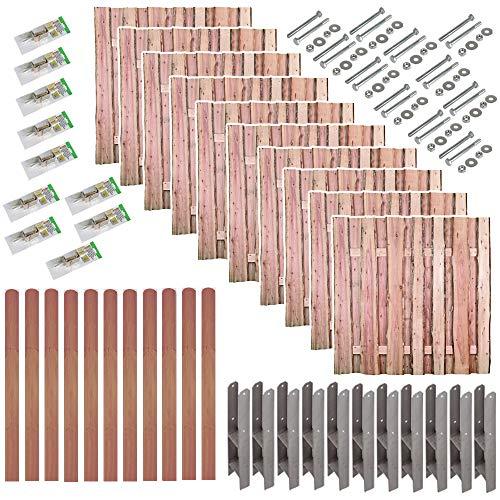 MEIN GARTEN VERSAND Bohlen-Zaun Dresden im Maß 180 x 180 cm Komplett-Set // 10 Zäune // ca. 19 lfd. Meter // aus Lärche // + 11 passenden Zaunpfeiler (9 x 9 x 190 cm) mit Rundkopf + Montagematerial