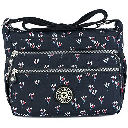 MINGZE Mujer Bolsos de Moda, Impermeable Mochilas Bolsas de Viaje Bolso Bandolera Sport Messenger Bag Bolsos Mano para Escolares Nylon Casual Shopper (Patrón 3)