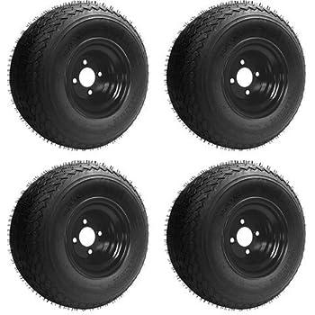 18x8.50-8 GTX OEM Golf Cart Wheels and Golf Cart Tires Combo - Set of 4 (18x8.5-8, Black)