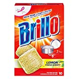 ブリロ(Brillo) スチールウールたわし 油汚れ&焦げ落とし 10個入 (レモン) [並行輸入品]