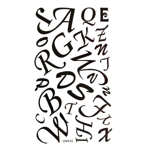 MicroDeal Waterproof temporary tattoo sticker black letters 26 English letters