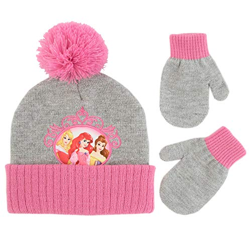 Disney Winter Hat, Kids Gloves or Toddlers, Princess Baby Beanie for Boy GirlAges 4-7, Grey/Pink Mitten Age 2-4