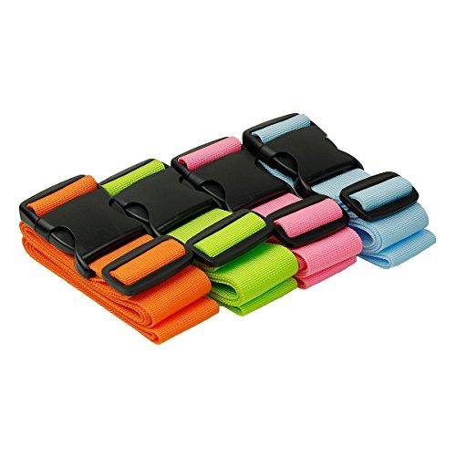 Hibate 4-Piece Luggage Strap Luggage Strap Luggage Strap Identification of Suitcase Multicolour Mehrfarbig(4-stück) One Size