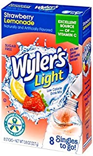 Wyler's Light Singles To Go Powder Packets, Water Drink Mix, Strawberry Lemonade, 96 Single Servings (Pack of 12)