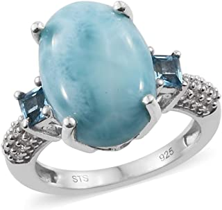 Promise Ring 925 Sterling Silver Platinum Plated Rainbow Moonstone Blue Topaz Jewelry for Women