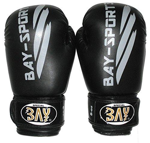 BAY® Black Or Black Boxhandschuhe schwarz grau black 8, 10, 12 Unzen OZ UZ Leder PU für Boxen, Kickboxen, MMA, Muay Thai, Thaiboxen, Pointfighting