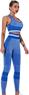 Women's Workout Outfit 2 Pieces Seamless Yoga Leggings with Sports Bra Gym Clothes Set Athletic Sportswear Suits