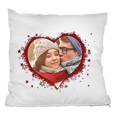 Personello® Fotokissen Herz Collage, Herzkissen mit eigenem Foto gestalten, inklusive Füllung, originelles Fotogeschenk, Liebesbeweis, Romantisches Geschenk zum Jahrestag