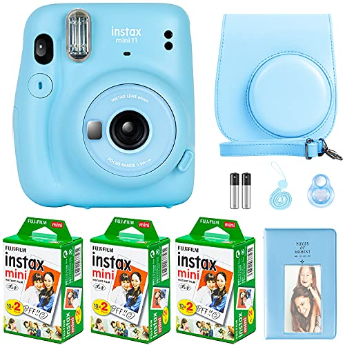 Fujifilm Instax Mini 11 Camera with Fujifilm Instant Mini Film (60 Sheets) Bundle with Deals Number One Accessories Including Carrying Case, Selfie Lens, Photo Album, Stickers (Sky Blue)