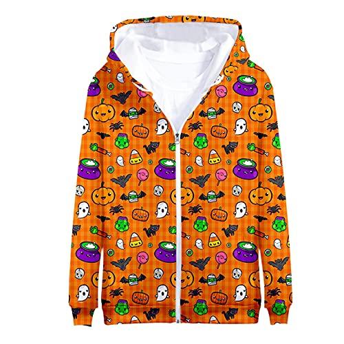 routinfly Abrigos a la moda, Halloween 3d impreso adulto hombre y mujer manga larga con capucha cremallera suéter impreso sudadera con capucha para adolescentes mujeres y hombres